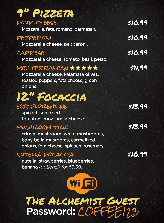 Pizzeta and Focaccia Menu